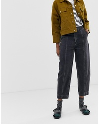 Weekday Worker Jeans In Charcoal Black