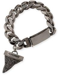 Givenchy Gunmetal Pave Crystal Shark Tooth Bracelet