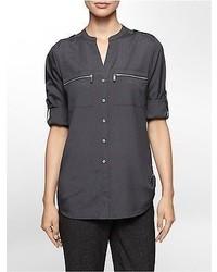 Calvin Klein Mandarin Collar Exposed Zip Detail Roll Up Sleeve Blouse