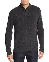 Saks Fifth Avenue Button Front Cashmere Cable Knit Sweater
