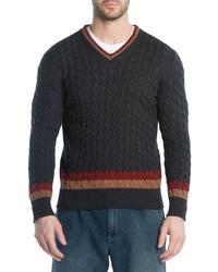 Eleventy Cableknit Cashmere V Neck Sweater