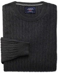 Charles Tyrwhitt Charcoal Cotton Cashmere Cable Crew Neck Cottoncashmere Sweater Size Small By