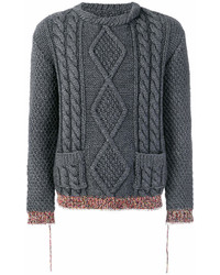 Maison Margiela Contrast Cuff Cable Knit Sweater