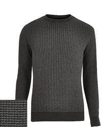 River Island Dark Grey Ribbed Knitted Slim Fit Sweater