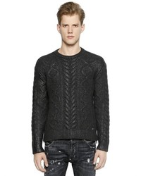 DSQUARED2 Coated Wool Blend Cable Knit Sweater