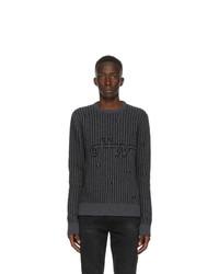 Off-White Grey Intarsia Knit Sweater