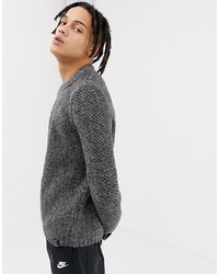 YOURTURN Honeycomb Knit Jumper In Black And Whitewhite