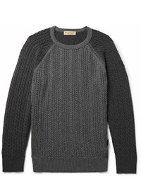 Burberry Slim Fit Two Tone Cable Knit Cashmere Sweater