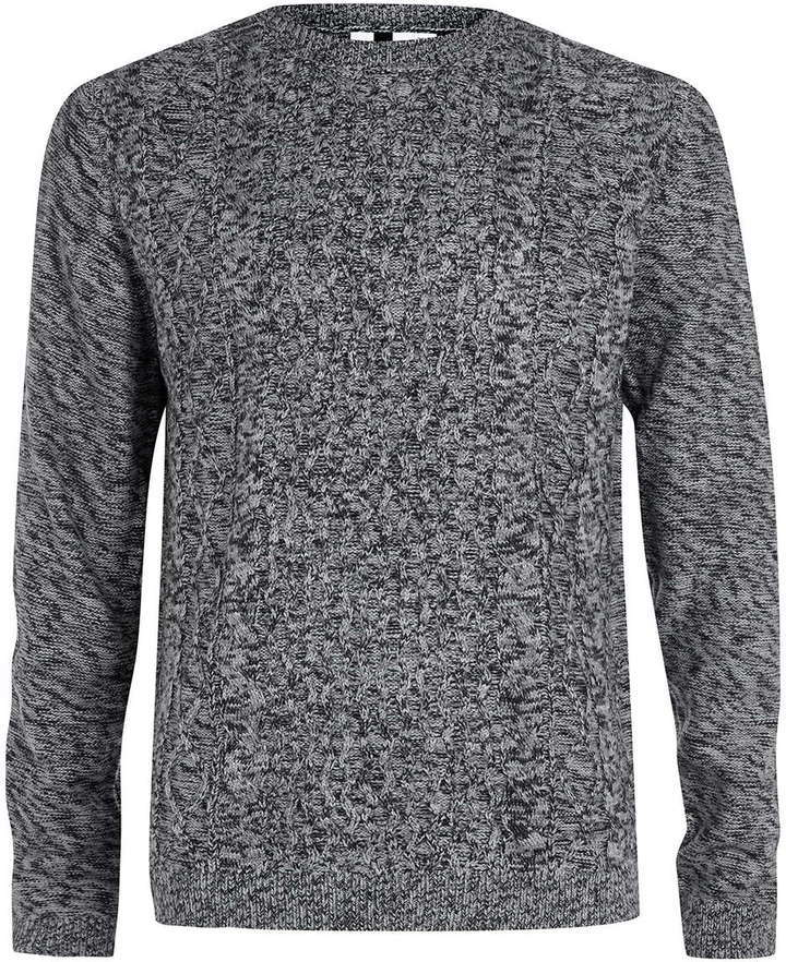 Charcoal Multi Cable Knit Sweater