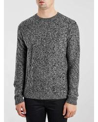 Topman Charcoal Multi Cable Knit Sweater, $60 | Topman