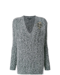 Ermanno Scervino V Neck Cable Knit Applique Sweater