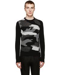 Black camo intarsia sweater medium 385901