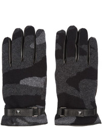 Valentino Grey Cashmere Camo Gloves