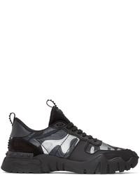 Valentino Black Grey Garavani Camo Rockrunner Plus Sneakers