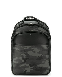 Charcoal Camouflage Leather Backpack