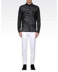 Giorgio Armani Slim Fit Camouflage Denim Shirt