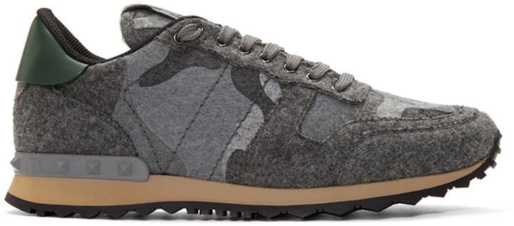 72ebc7bdeea6e Valentino Grey Felt Camo Rockrunner Sneakers, $945 | SSENSE ...
