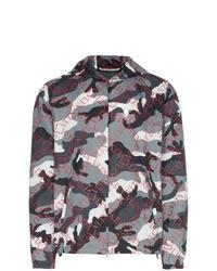 Valentino Grid Camo Print Boxy Fit Hooded Jacket