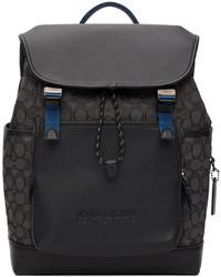 Coach 1941 Black Signature Jacquard League Flap Backpack