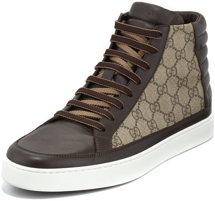 90d14fc852b Gucci Gg Supreme Canvas High Top Sneaker Brown, $520 | Neiman Marcus ...