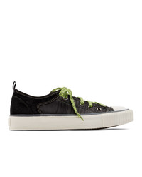 Lanvin Black Velvet And Nylon Low Top Sneakers
