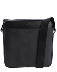 Black and grey coated canvas and leather messenger bag medium 122256