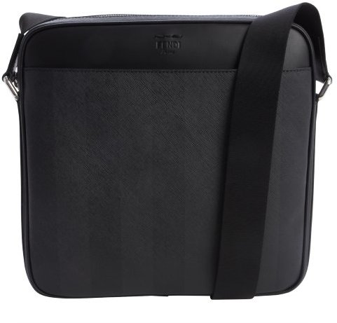 Fendi Black And Grey Coated Canvas And Leather Messenger Bag ...
