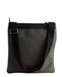 Grey coated canvas and leather messenger bag medium 122257