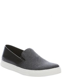 Kenneth Cole New York Grey Wool And Leather Double Or Nothing Slip On Sneakers