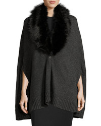 Three Dots Alex Poncho W Removable Faux Fur Charcoal