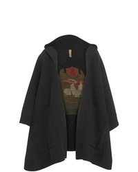 Burberry Crest Wool Blend Jacquard Hooded Cape