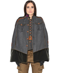 Dsquared2 Military Style Wool Twill Cape