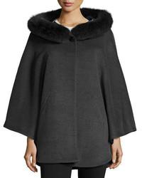 Sofia Cashmere Fur Trim Hooded Capelet