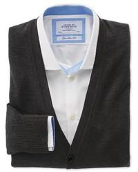 Charles Tyrwhitt Charcoal Merino Wool Cardigan