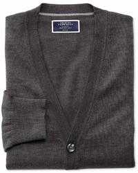 Charles Tyrwhitt Charcoal Merino Wool Cardigan Size Large By