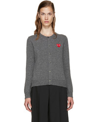 Comme des Garcons Comme Des Garons Play Grey Wool Heart Cardigan