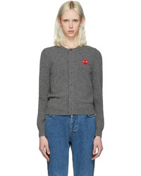 Comme des Garcons Comme Des Garons Play Grey Wool Heart Patch Cardigan
