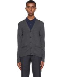 Ralph Lauren Purple Label Grey Merino Wool Rib Knit Slim Cardigan