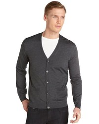 Canali Grey Wool And Silk Button Up Cardigan