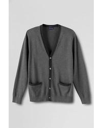 Lands' End Supima Cotton Colorblock Cardigan Sweater