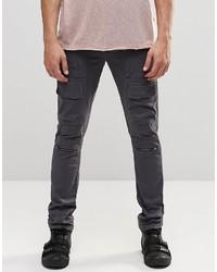 Asos Super Skinny Cargo Pants With Zips In Petrol Gray