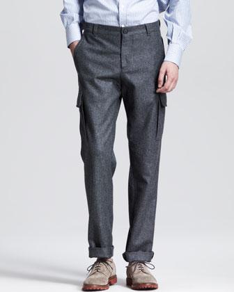 Brunello Cucinelli Flannel Cargo Pants Dark Gray | Where to buy ...