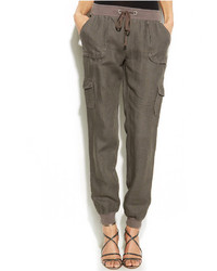 Drawstring waist linen cargo pants medium 236267