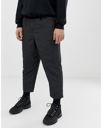 ASOS DESIGN Drop Crotch Tapered Smart Trousers In Sporty Nylon In Charcoal