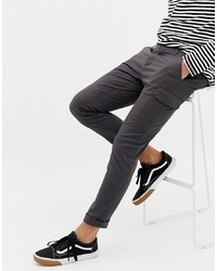 ASOS DESIGN Skinny Cargo Trousers In Washed Black
