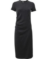 Brunello Cucinelli Wool Jersey Ruched Monili Dress