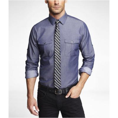 Express extra slim chambray shirt where to buy how to wear for Extra slim dress shirt
