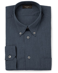 London soho blue slim fit button down cotton chambray shirt medium 328761