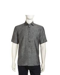 Neiman Marcus Chambray Short Sleeve Shirt Black