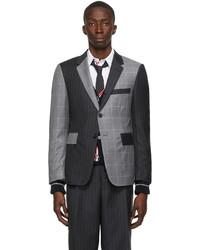 Thom Browne Grey Wool Pinstripe Fun Mix Classic Sport Coat Blazer